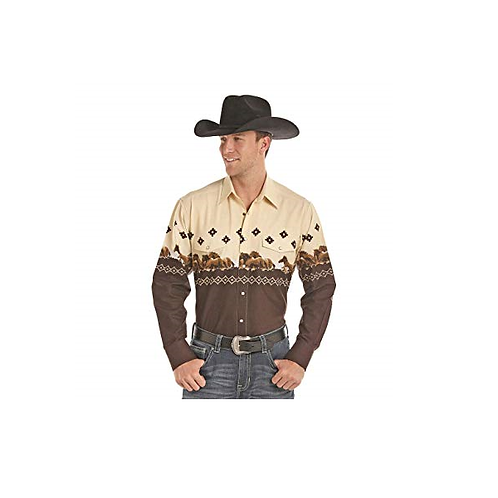 Men's Panhandle Brown/Tan Running Horse Western Shirt