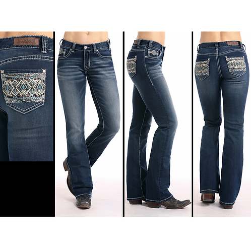 Rock & Roll Denim Turquoise & Tan Diamond with Copper Accent Jeans