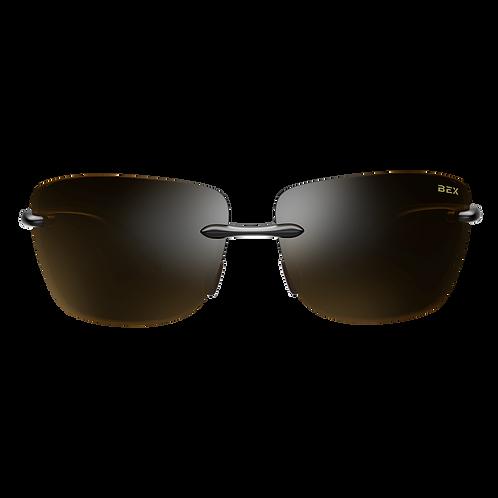 BEX Jaxyn XL Sunglasses - Black Frame, Brown Lens
