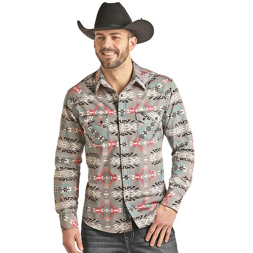Panhandle Smoke Grey Aztec Western Shirt