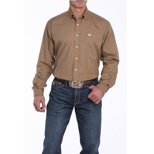 Cinch Khaki Western Shirt with Black & White Squares