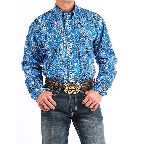 Men's Cinch Sky Blue Paisley Western Shirt
