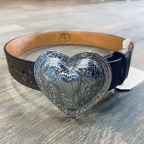 Kid's 3D Brown Running Horse Belt with Silver Heart Buckle