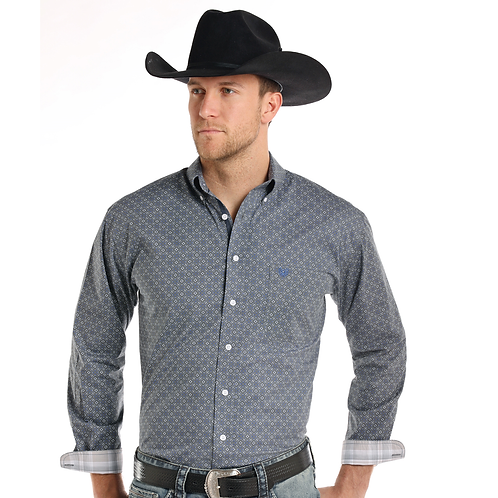 Panhandle Steel Blue Patterned Western Shirt
