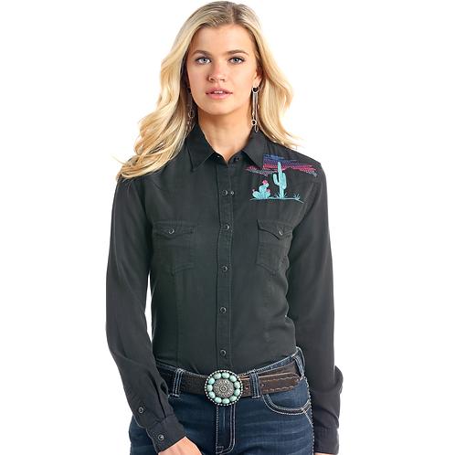 Panhandle Black Desert Embroidered Tencel Western Shirt