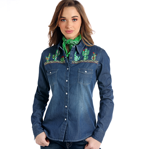 Panhandle Distressed Denim Western Shirt with Embroidered Cacti