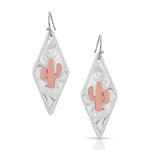 Montana Silversmith Silver Diamond Rose Gold Cactus Earrings