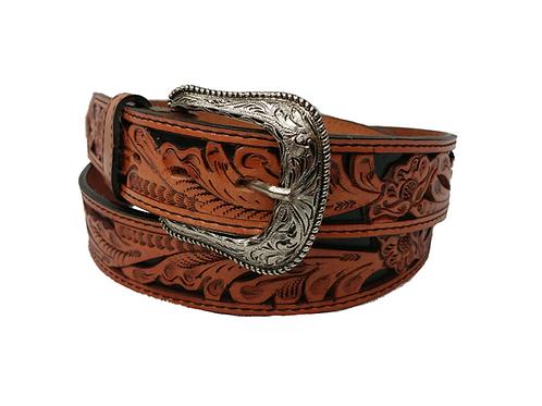 OK Corral Saddle Tan & Black Carved Floral Belt