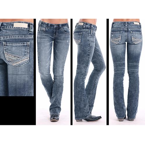 Rock & Roll Denim White & Copper Multi Stitch Jeans