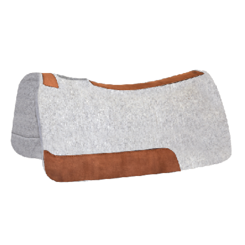 "5 Star 30""x28"" Saddle Pad - 1/2"" - Natural with Brown Leathers"