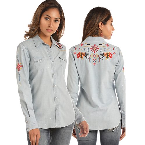 Panhandle Metallic Denim Buffalo Embroidered Western Shirt