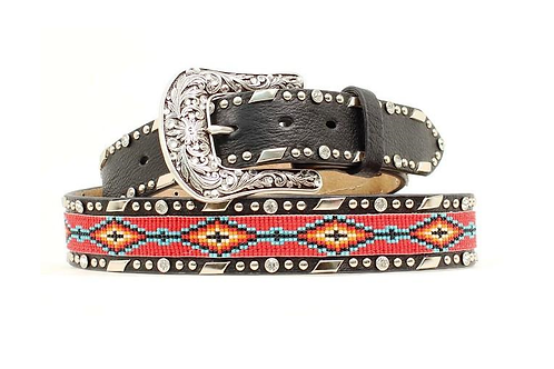 Ariat Red Beaded Black Belt