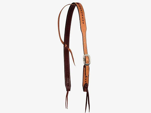 """Wildfire Saddlery 1-1/4"""" Rough Out Buckstitched Cowboy Knot Ear Headstall"""