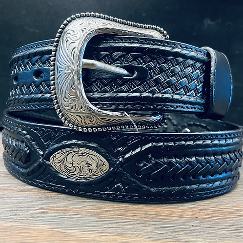 Black Braided Belt with Silver Conchos