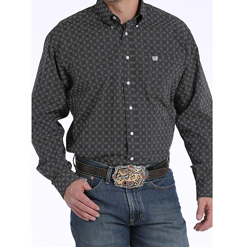 Cinch Black & White Diamond Check Western Shirt