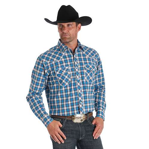 Wrangler Blue & Brown Plaid Western Shirt