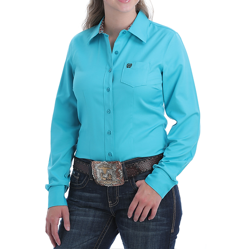 Ladies Cinch Solid Turquoise Tencel Western Shirt