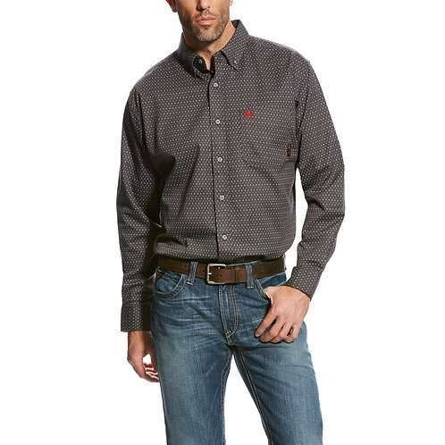Ariat Grey Patterned FR Western Shirt