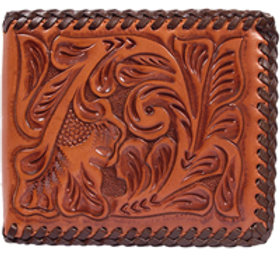 3D Natural Western Bifold Wallet w/Chocolate Lacing