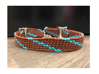 Double H Chocolate Teal Twist Wither Strap
