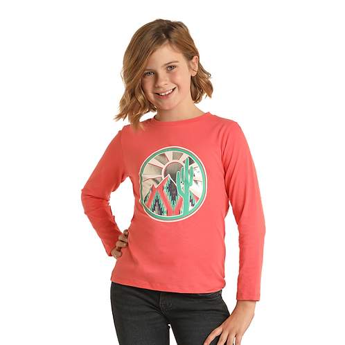 Girl's Panhandle Coral Long Sleeve with Metallic Mountain Sunset