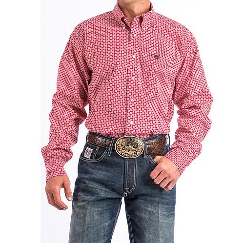 Men's Cinch Honeycomb Red Pattern Western Shirt