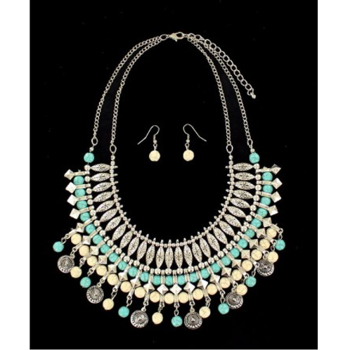 Blazin Roxx White & Turquoise Bead Grecian Set