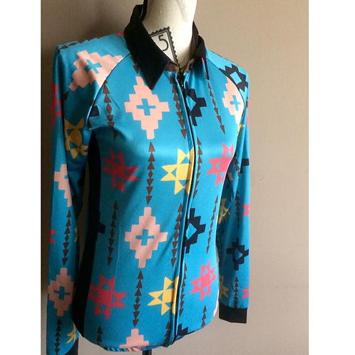 M Sport 6 Air Conditioned Shirt - Turquoise Aztec