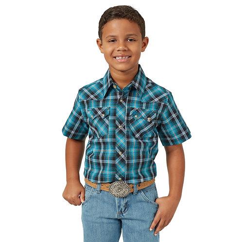 Boys Wrangler Short Sleeve Turquoise Plaid Western Shirt