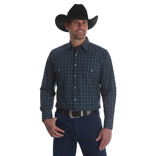 Wrangler Navy Plaid Wrinkle Resistant Western Shirt