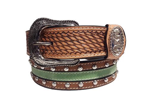 OK Corral Basket Weave Mint Studded Belt