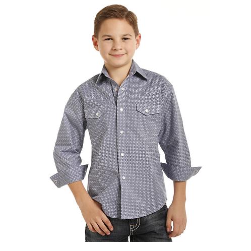 Boy's Panhandle Geometric Print Western Shirt