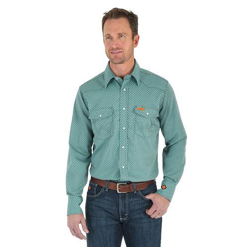 Wrangler FR Mint Geo Plaid Shirt