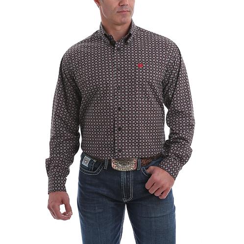 Men's Cinch Grey, Black & Red Geo Western Shirt