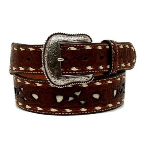 Nocona Brown & Ivory Floral Laced Belt