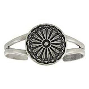 Montana Attitude Jewelry Antique Silver Flower Medallion Cuff
