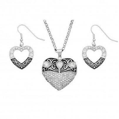 Vintage Charm Something Old Something New Heart Jewelry Set