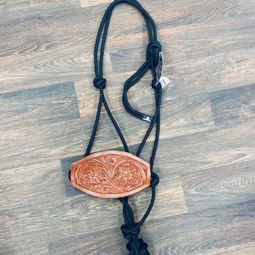 Cactus Saddlery Rope Halter w/Leather Floral Noseband