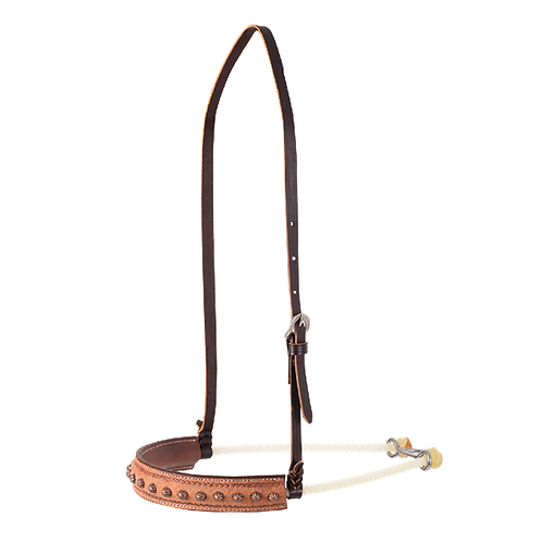 Martin Saddlery Leather Covered Rope Noseband with Copper Dots