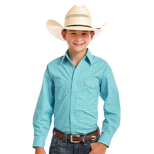 Boys Panhandle Sky Blue Diamond Print Western Shirt