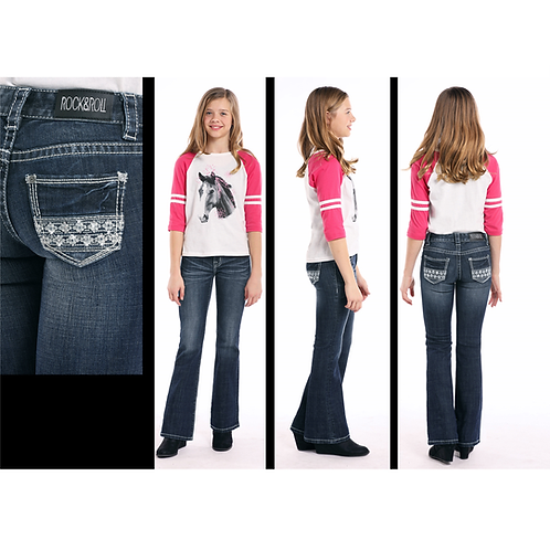 Rock & Roll Denim Silver Small Aztec G5-7690 Jeans