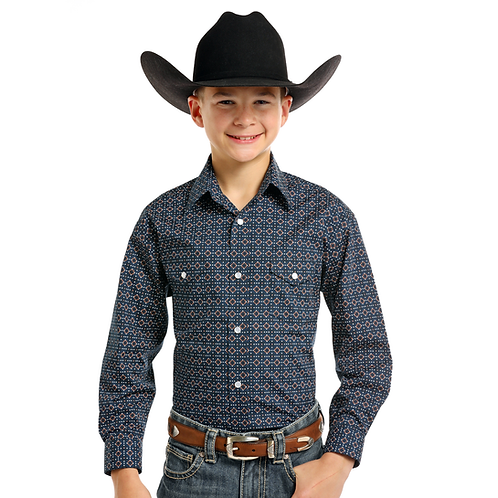 Panhandle Navy Cocoa Diamond Western Shirt