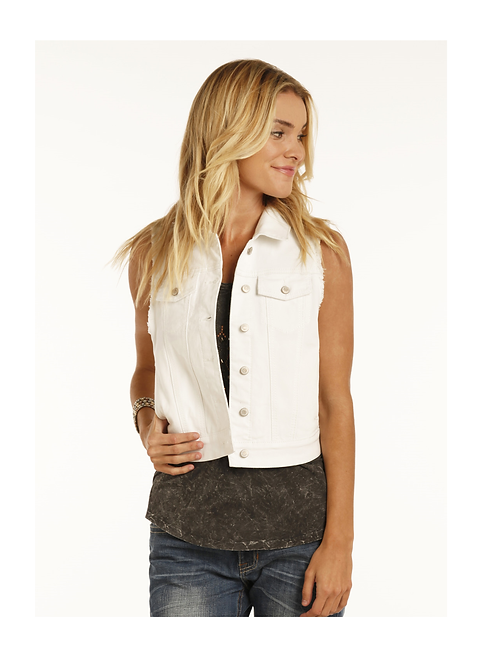 Rock & Roll Cowgirl White Wash Vest