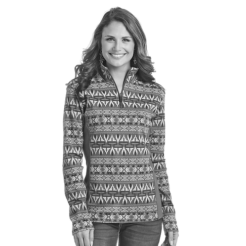 Panhandle Grey Aztec 1/4 Zip Sweater