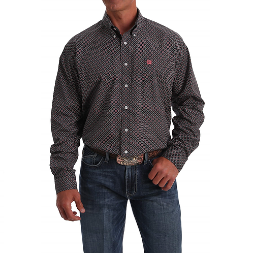 Men's Cinch Black Western Shirt with Coral Bloom