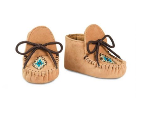 Baby Buckers Tan & Blue Embroidered Mocs