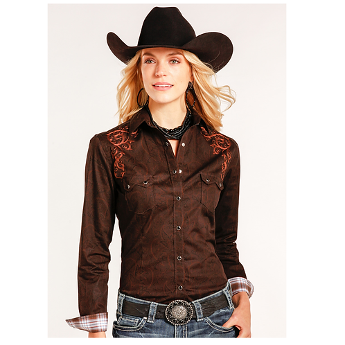 Panhandle Chocolate Copper Paisley Print Western Shirt