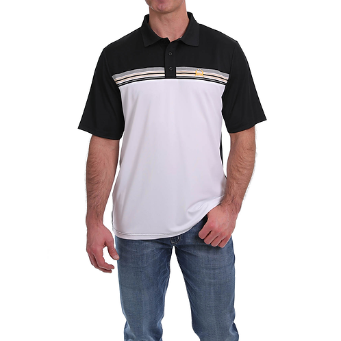 Cinch Black & White Arenaflex Polo Shirt with Yellow Stripe