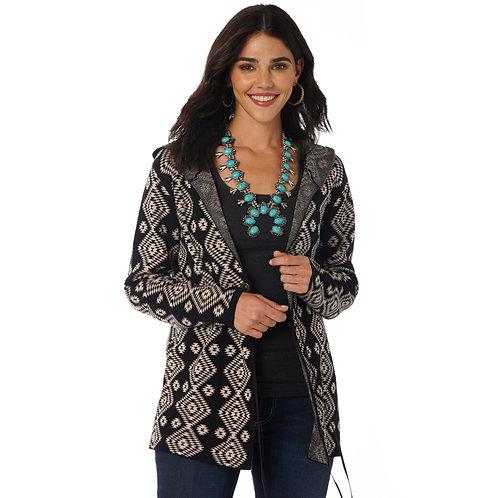 Ladies Wrangler Aztec Black & White Hooded Cardigan
