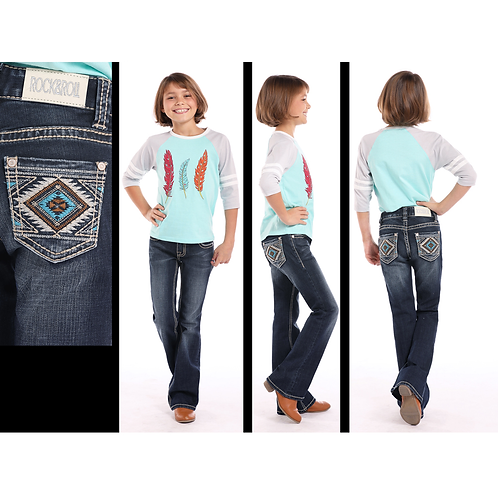 Rock & Roll Denim Turquoise & Tan Aztec Jeans